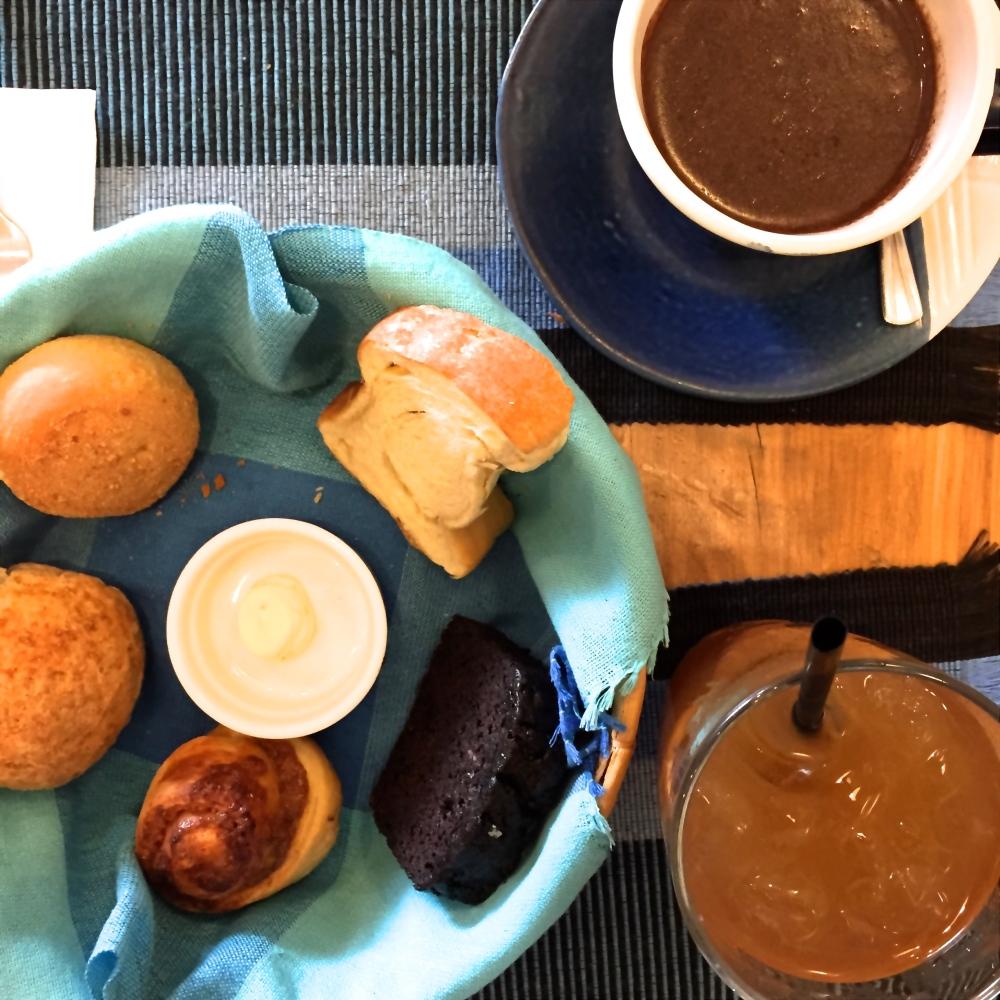 TBT Breakfast Basket. TR: Papa Diddi's Hot Chocolate, LR: TBT Cooler